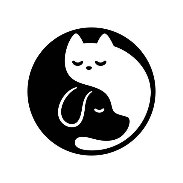 Cat dog yin yang Cat and dog yin yang symbol. Cute and simple black and white cartoon pets in circle. Minimal vector illustration. yin yang symbol stock illustrations
