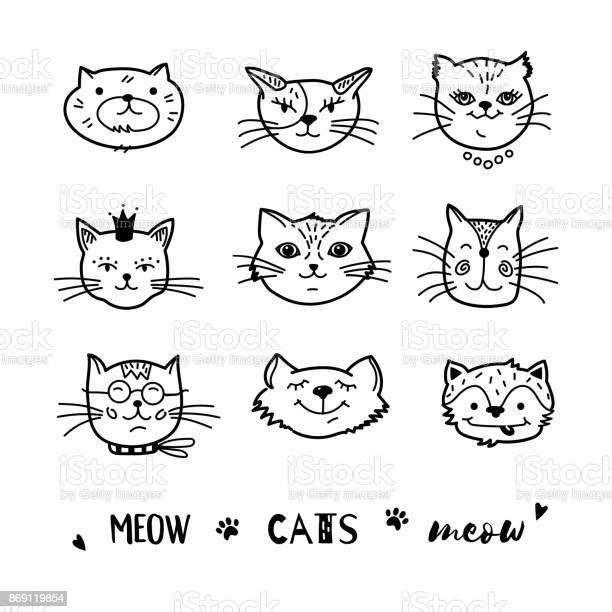Cat doodle hand drawn cats icons collection cartoon comic cute vector id869119854?b=1&k=6&m=869119854&s=612x612&h=m8grqos8qt hr34odyfdmrklgh3ptzhsb5y1z0muzlq=
