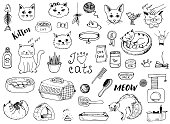istock Cat doodles on a white background 1090377466