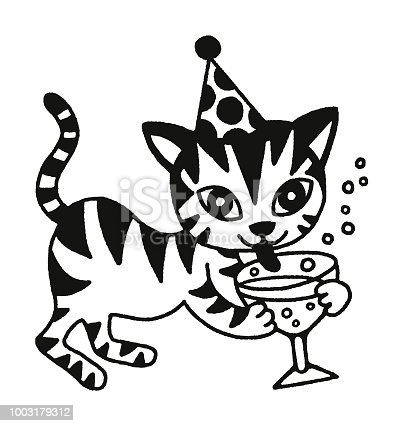 Cat Drinking Champagne