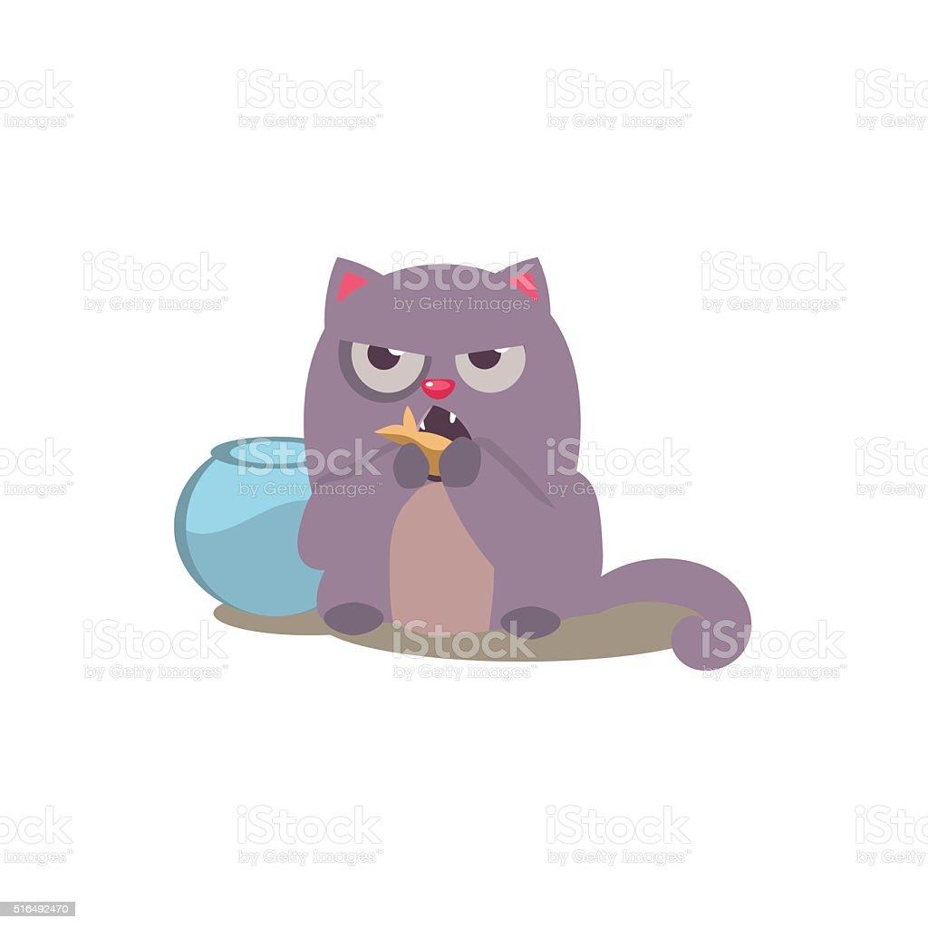 Cat Eating Golden Fish vector art illustration