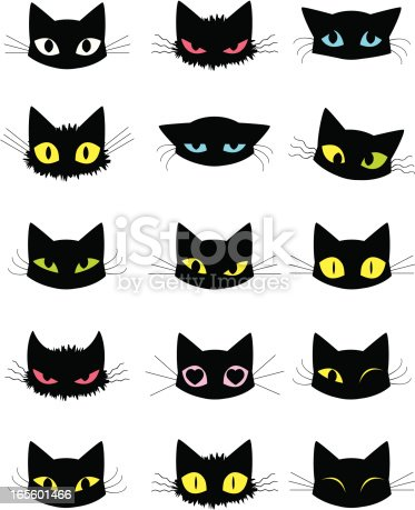 Various emotions of a cat expressed through the eyes, fur, ears and whiskers.