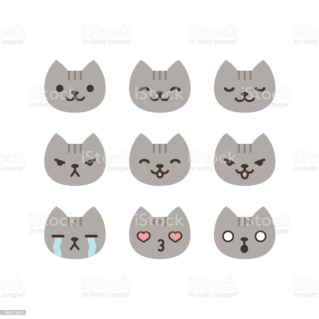 Cat emoticons vector art illustration
