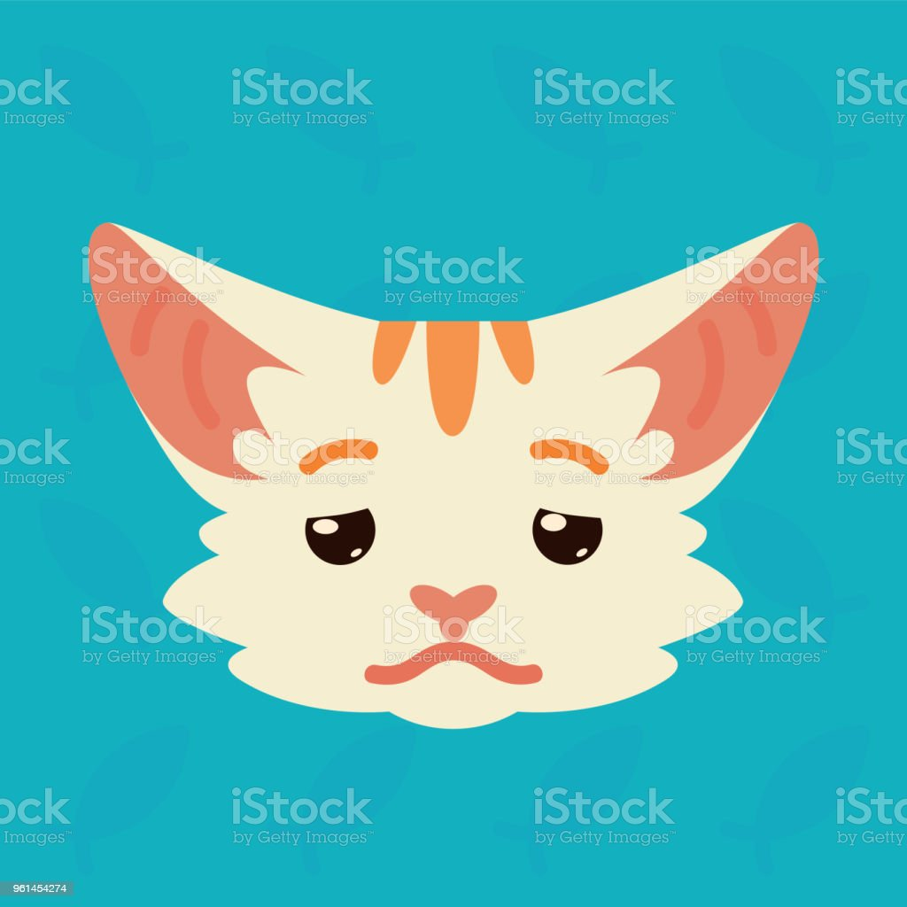 Cat emotional head. Vector illustration of cute kitty shows depressed emotion. Tired emoji. Smiley icon. Chat, communication. White cat with red stripes in flat cartoon style on blue background. vector art illustration
