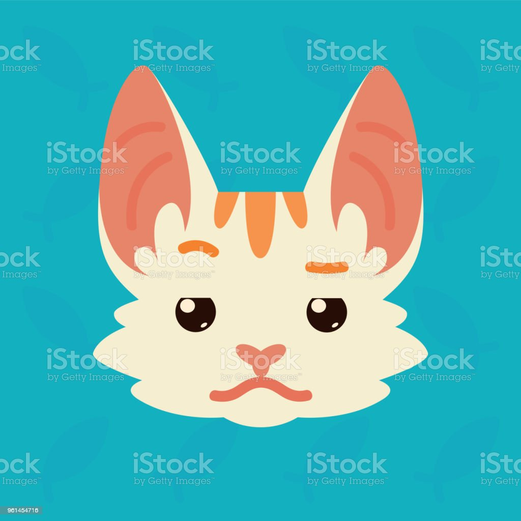 Cat emotional head. Vector illustration of cute kitty shows distrust emotion. Doubt emoji. Smiley icon. Print, chat, communication. White cat with red stripes in flat cartoon style on blue background. vector art illustration