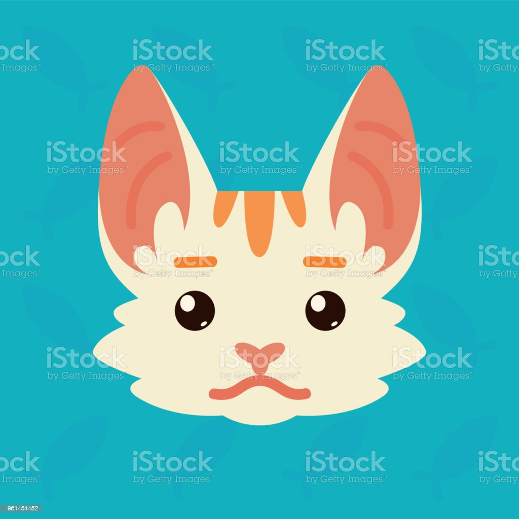 Cat emotional head. Vector illustration of cute kitty shows neutral emotion. Poker face emoji. Smiley icon. Chat, communication. White cat with red stripes in flat cartoon style on blue background. vector art illustration