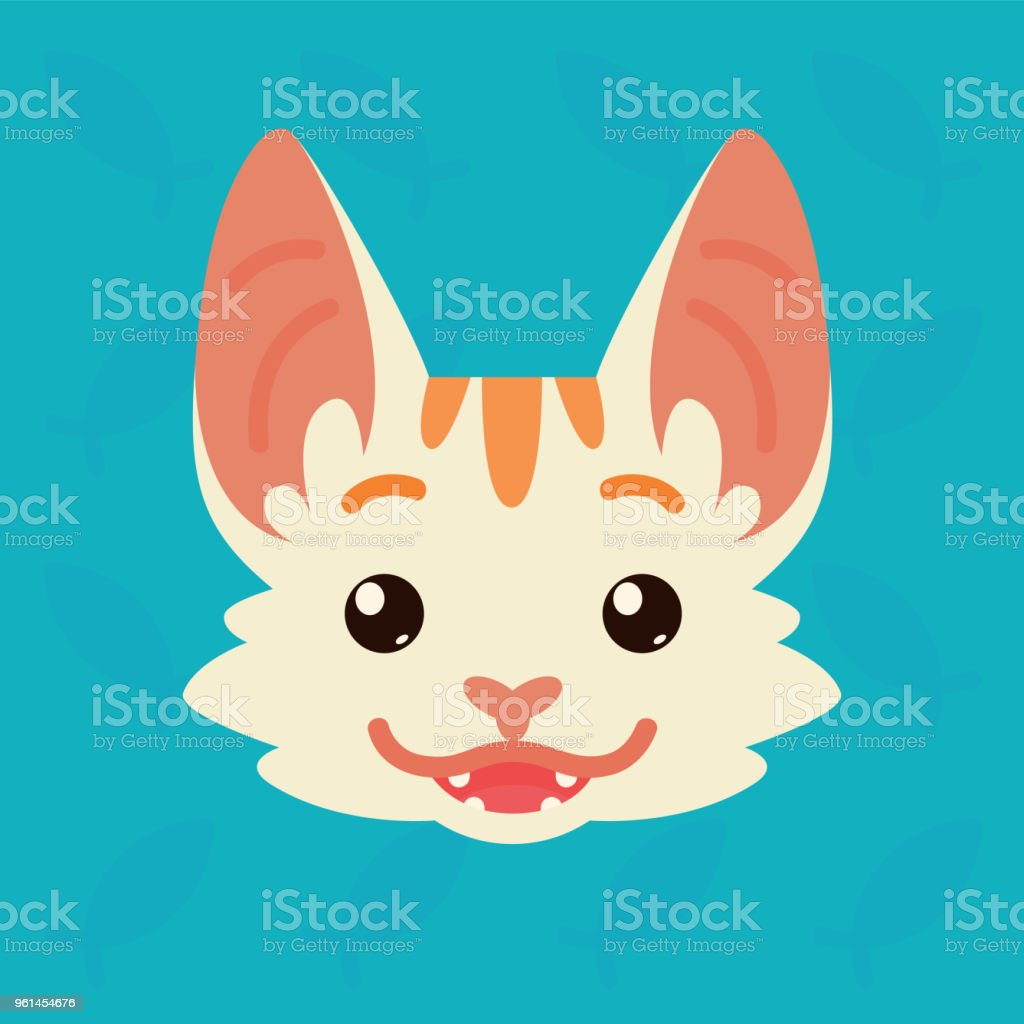 Cat emotional head. Vector illustration of cute kitty shows positive emotion. Happy emoji. Smiley icon. Print, chat, communication. White cat with red stripes in flat cartoon style on blue background. vector art illustration