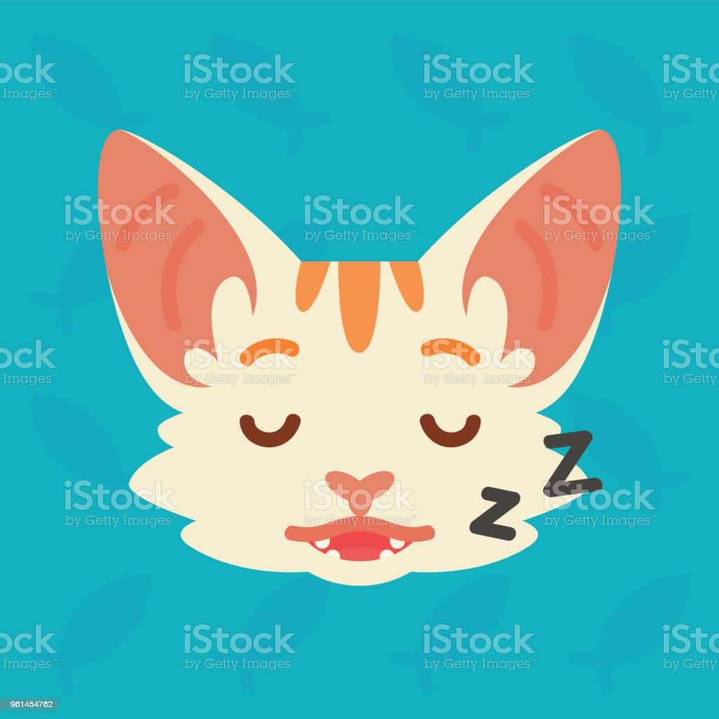 Cat emotional head. Vector illustration of cute kitty shows relax emotion. Sleeping emoji. Smiley icon. Print, chat, communication. White cat with red stripes in flat cartoon style on blue background. vector art illustration