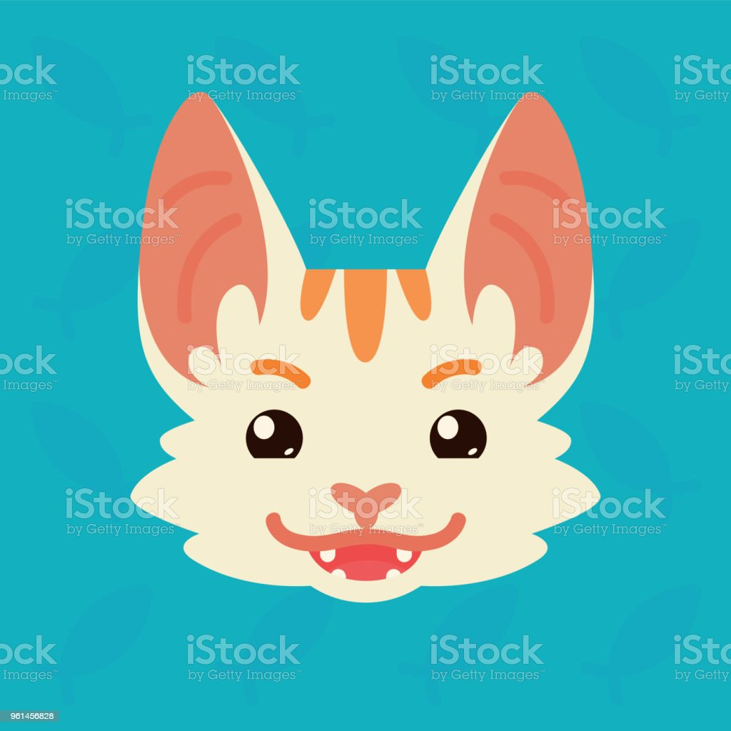 Cat emotional head. Vector illustration of cute kitty shows tricky emotion. Evil emoji. Smiley icon. Print, chat, communication. White cat with red stripes in flat cartoon style on blue background. vector art illustration