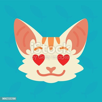 Cat emotional head. Vector illustration of cute kitty with hearts in eyes shows emotion. In love emoji. Smiley icon. Print, chat, communication. White cat with red stripes in flat cartoon style on blue background.