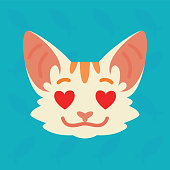 Cat emotional head. Vector illustration of cute kitty with hearts in eyes shows emotion. In love emoji. Smiley icon. Chat, communication. White cat with red stripes in flat cartoon style.