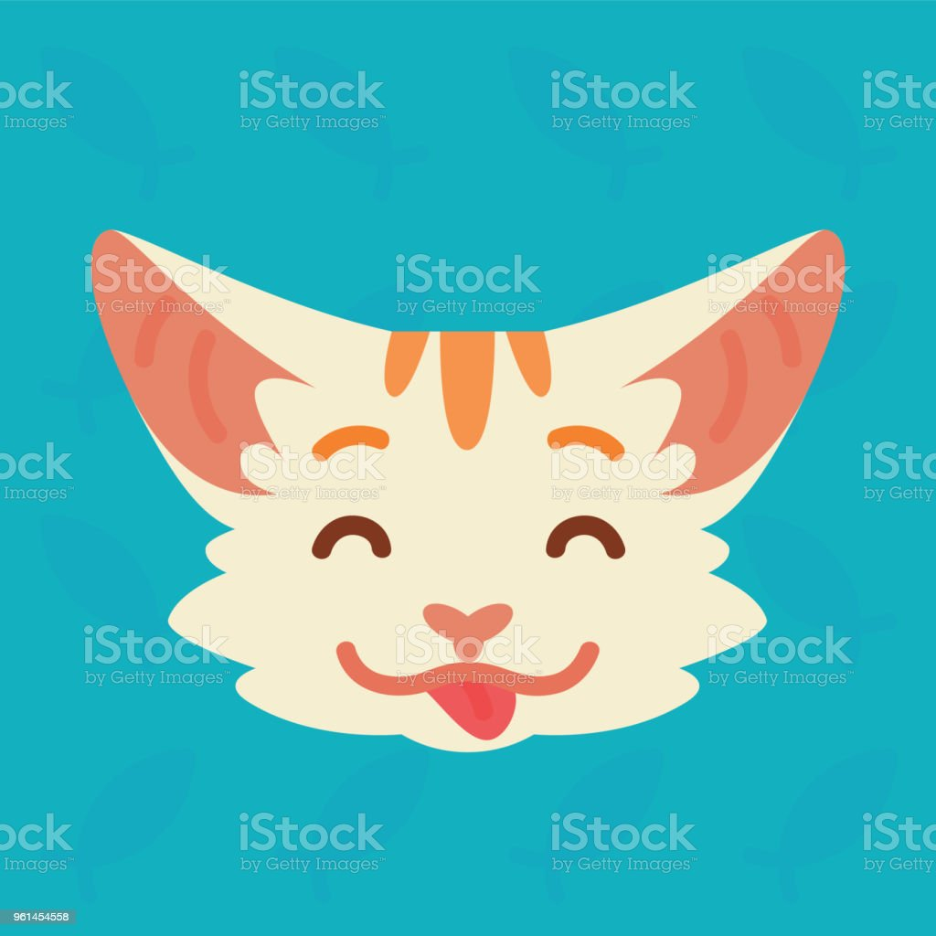 Cat emotional head. Vector illustration of cute kitty with tongue shows emotion. Playful emoji. Smiley icon. Chat, communication. White cat with red stripes in flat cartoon style on blue background. vector art illustration