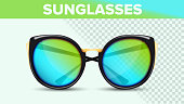 Cat Eye Sunglasses, Trendy Vector 3D Shades