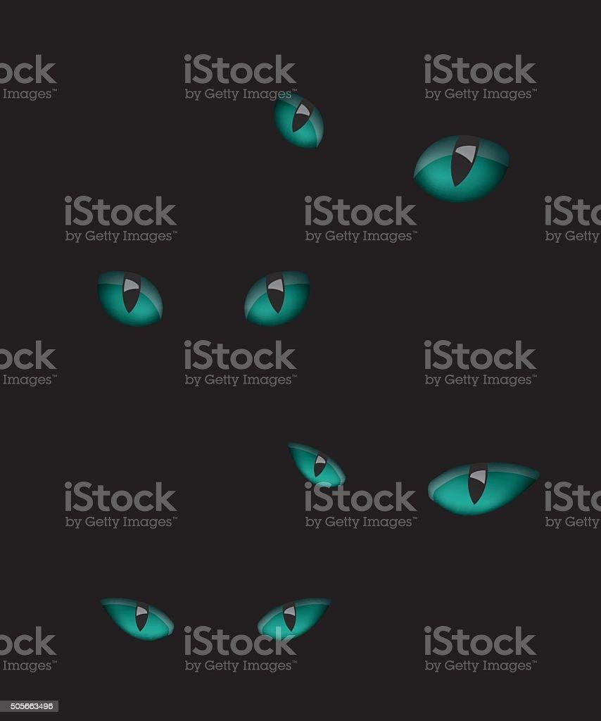Cat eyes illustration in the dark vector art illustration