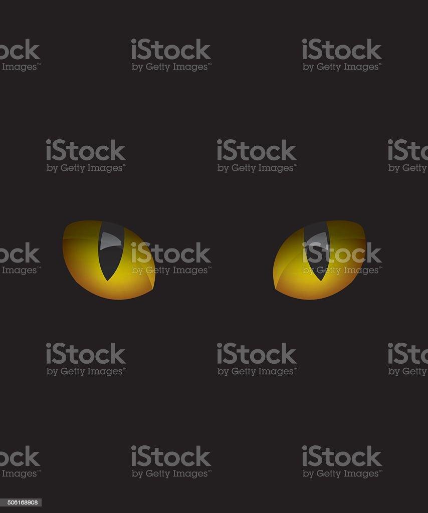Cat eyes in the dark vector art illustration
