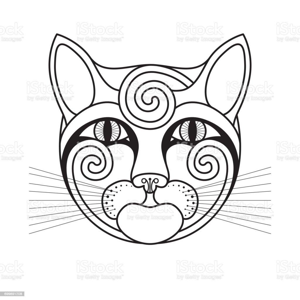 ilustração de desenho de rosto com espirais de gato e mais banco de
