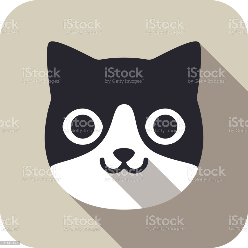 cat face flat icon series vector art illustration