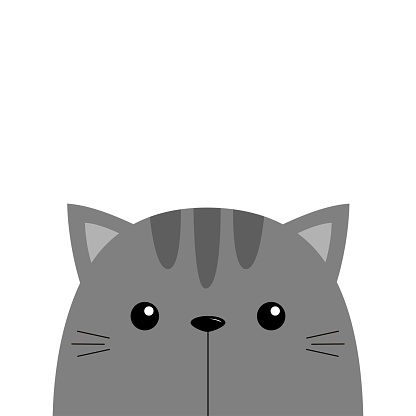Cat face head. Kawaii animal. Gray silhouette. Cute cartoon kitten character. Funny baby sad kitty. Happy Valentines Day. Love card. Sticker tshirt print. Flat design. White background.