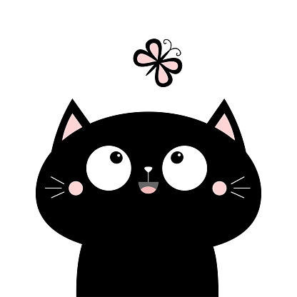 Cat face head looking at butterfly insect. Cute cartoon character icon. Kawaii animal. Baby card. Big eyes. Flat design. Notebook cover, tshirt, greeting card, sticker print. White background.