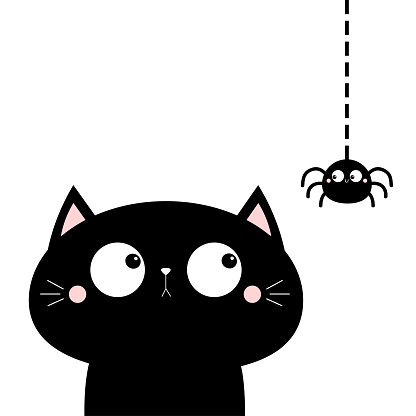 Cat face head looking at hanging spider insect. Cute cartoon character icon. Kawaii baby animal. Happy Halloween. Flat design. Notebook cover, tshirt, greeting card, sticker print. White background.