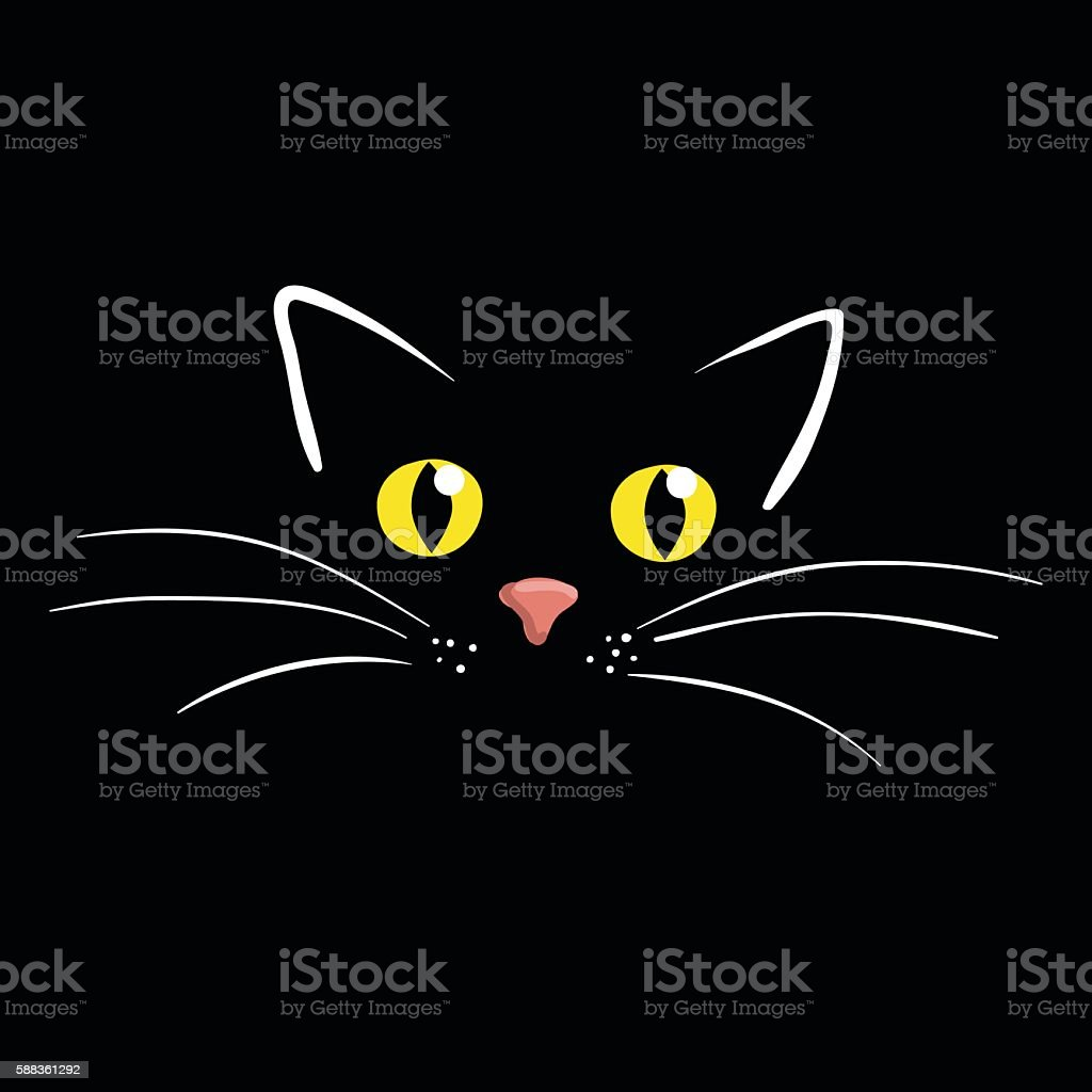 Cat face on black background vector illustration vector art illustration