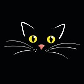 Cat face on black background vector illustration