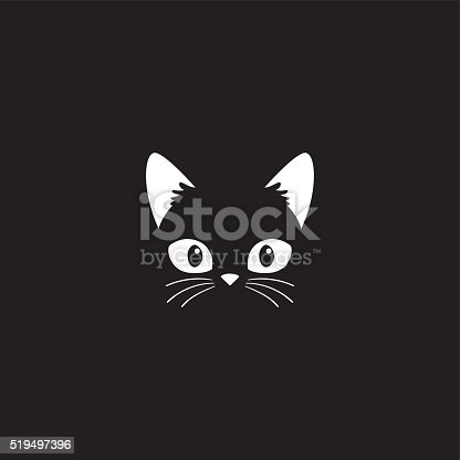 istock Cat face on black 519497396