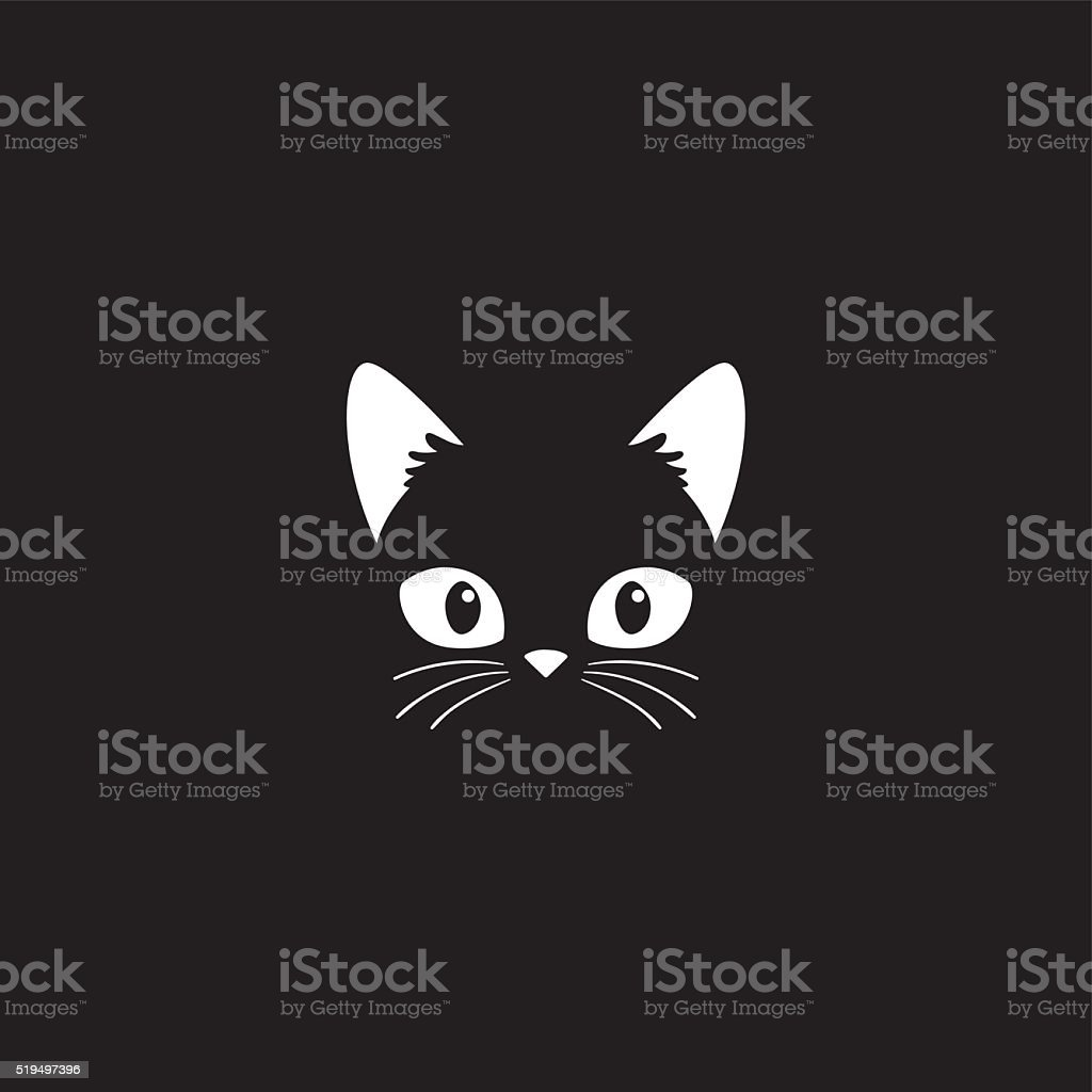 Cat face on black vector art illustration