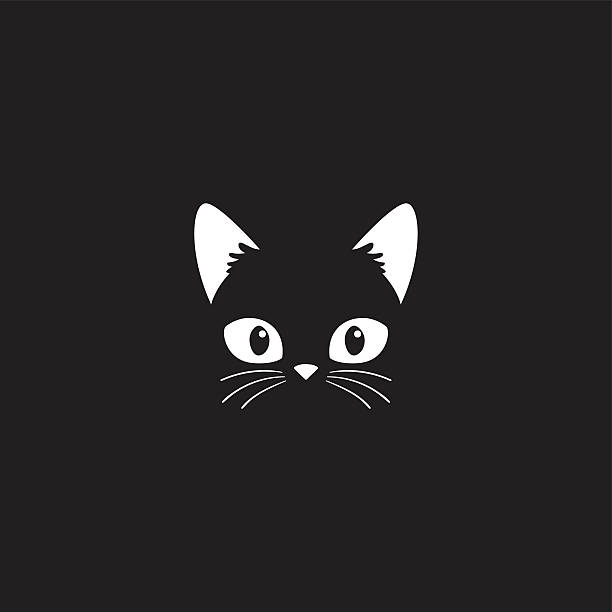 cat face on black - cat stock illustrations, clip art, cartoons, & icons
