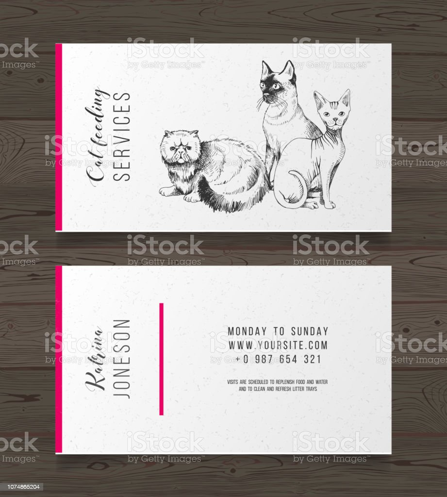Carte De Visite Services Alimentation Chat Cliparts Vectoriels Et