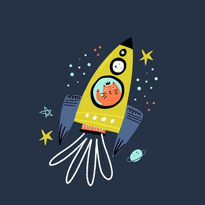 Cat flying in rocket flat vector illustration