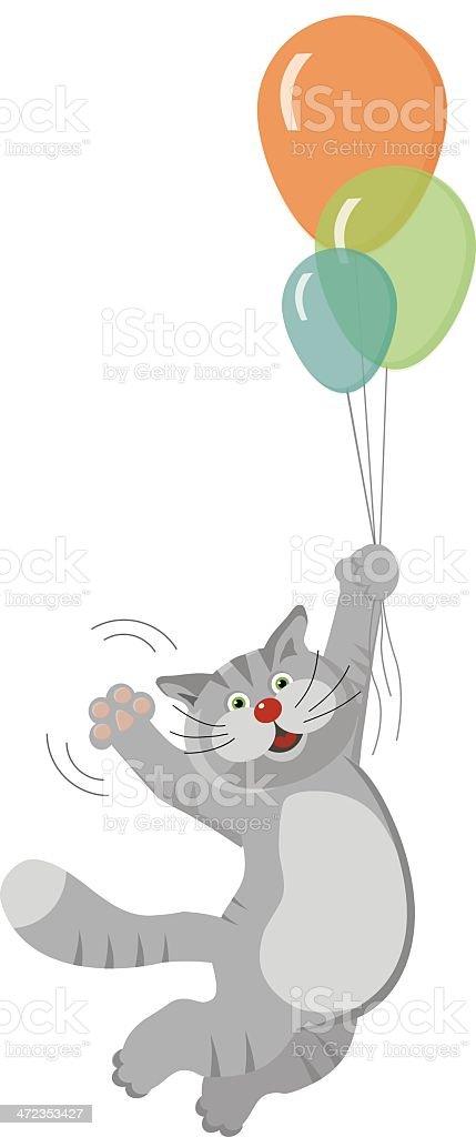 cat flying on balloons royalty-free stock vector art
