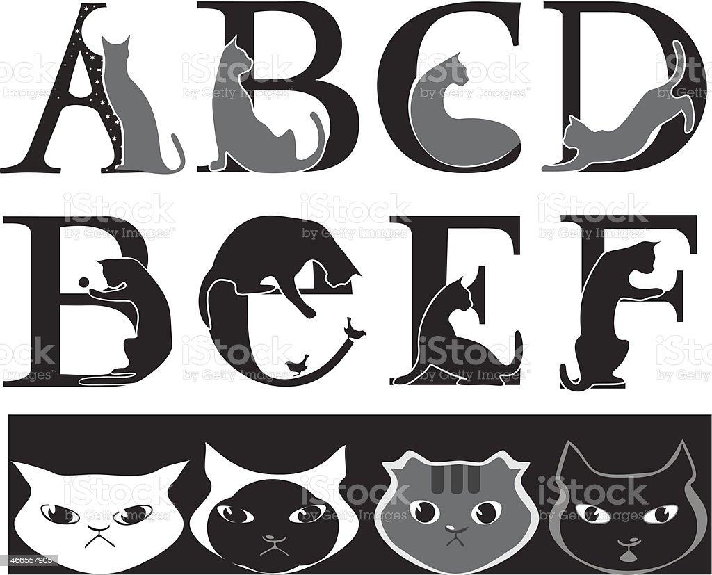 cat font royalty-free stock vector art