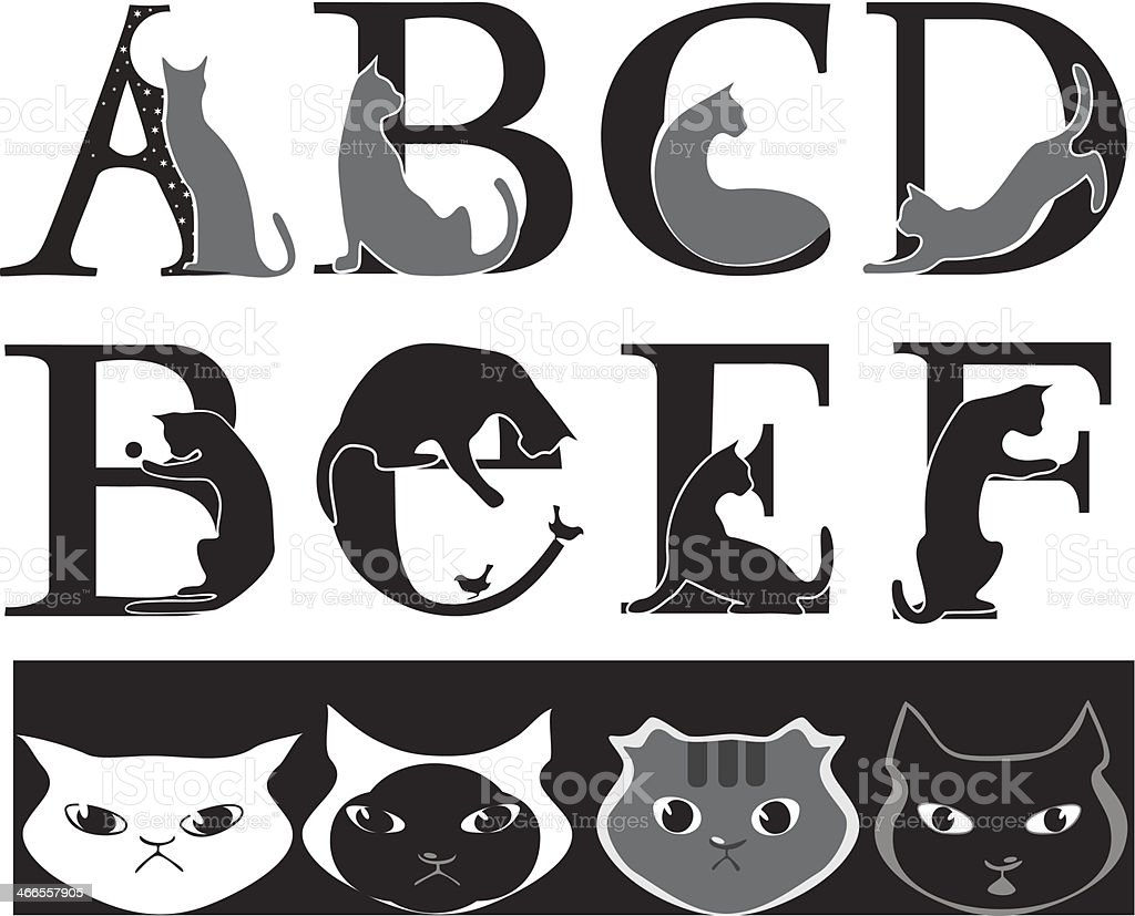 cat font vector art illustration