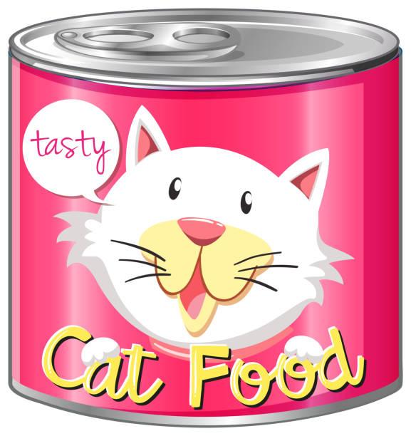 ilustrações de stock, clip art, desenhos animados e ícones de cat food in aluminum can - lata comida gato