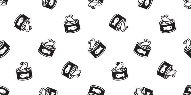 ilustrações de stock, clip art, desenhos animados e ícones de cat food seamless pattern vector fish paw kitten calico repeat wallpaper scarf isolated cartoon tile background doodle illustration - lata comida gato