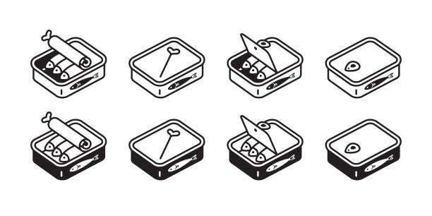 ilustrações de stock, clip art, desenhos animados e ícones de cat food vector fish can icon logo kitten calico character cartoon doodle illustration design white - lata comida gato