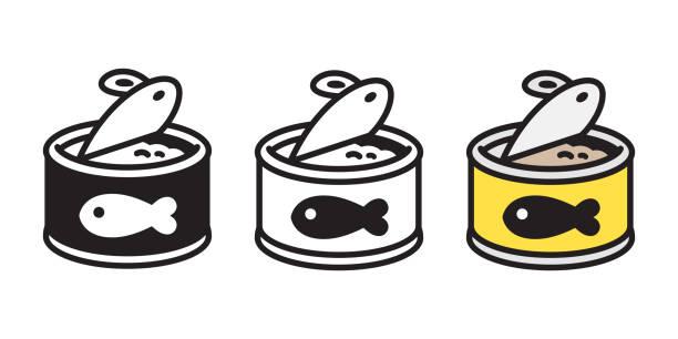 ilustrações de stock, clip art, desenhos animados e ícones de cat food vector fish icon logo kitten food calico character cartoon illustration doodle - lata comida gato