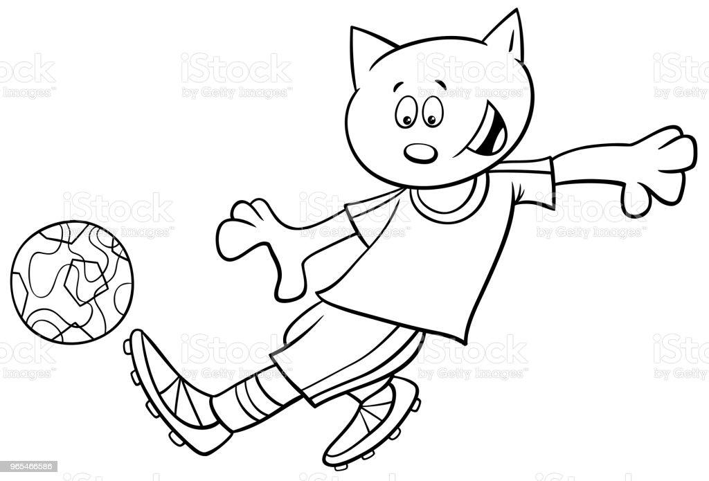 Ilustración de Libro De Colorear De Gato Fútbol Jugador Carácter y ...