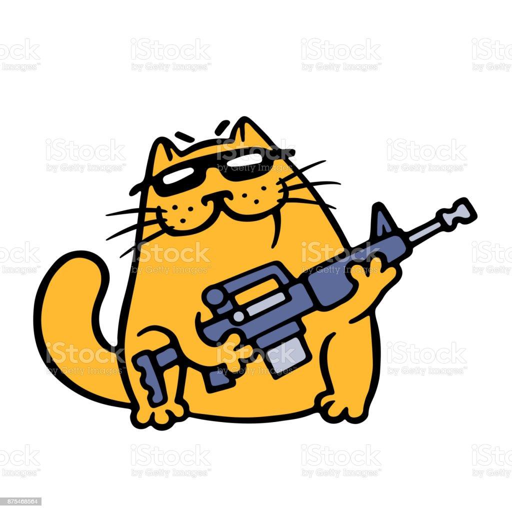 Ilustración de Gángster Gato Con Rifle De Asalto Está Listo Para ...