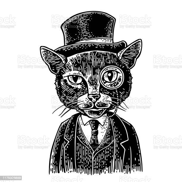 Cat gentleman holding a watch and dressed hat suit engraving vector id1175325859?b=1&k=6&m=1175325859&s=612x612&h=t76g7fmrbt1fbuaa jzwvz evnboyu6cedkfa0qllce=