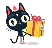 istock Cat giving a gift 616878904
