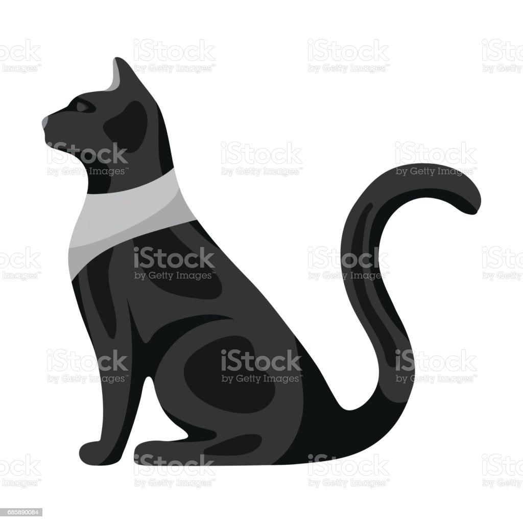 Katze Göttin Bastet Symbol In Monochromen Stil Isoliert Auf