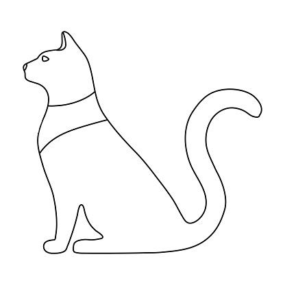 Katze Göttin Bastet Symbol Im Umrissstil Isoliert Auf Weißem