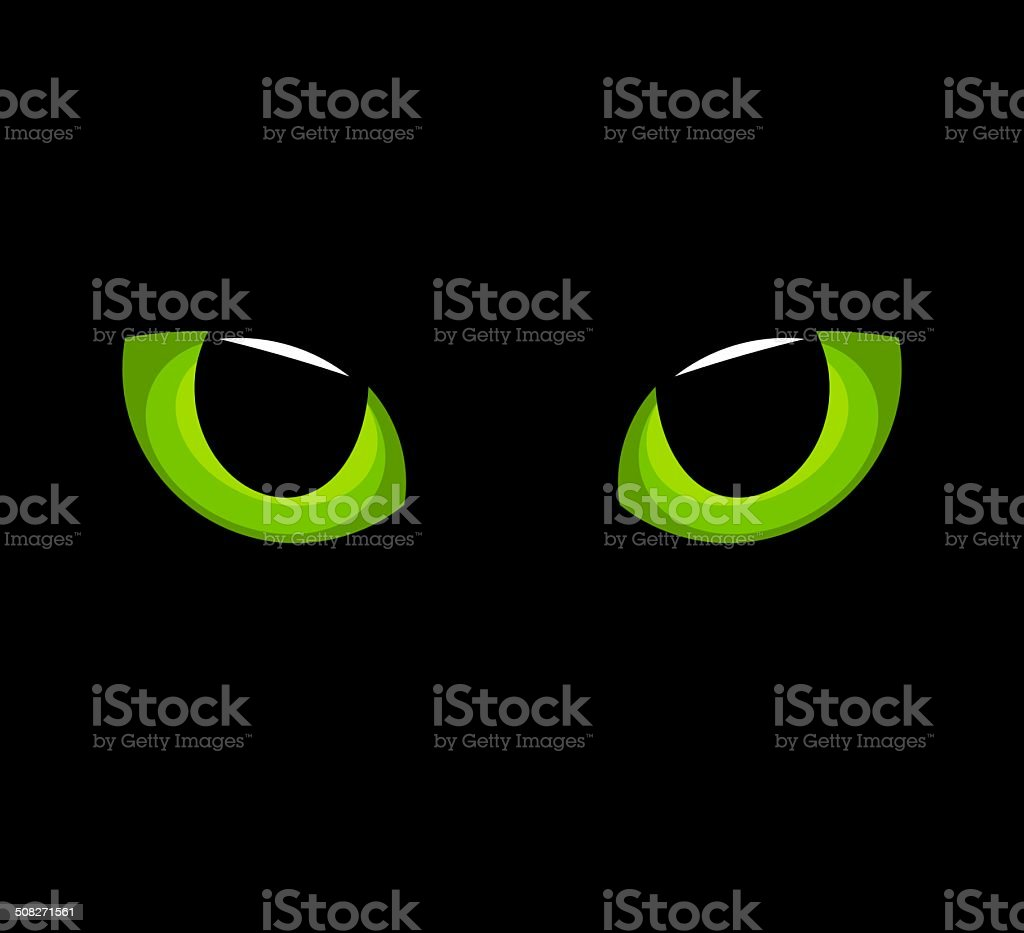 Cat green eyes vector art illustration