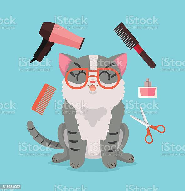 Cat grooming happy cat character vector flat cartoon illustration vector id618981092?b=1&k=6&m=618981092&s=612x612&h=mwpgk0xiavfjbq dafne5eoda d70bfojcnsgl6g dk=