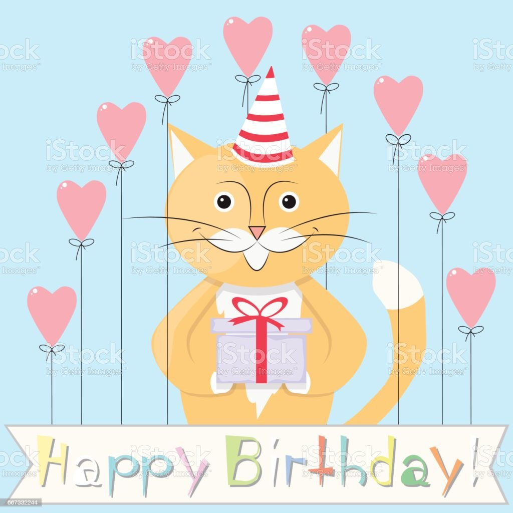 Gelukkige Verjaardag Kat Stockvectorkunst En Meer Beelden Van