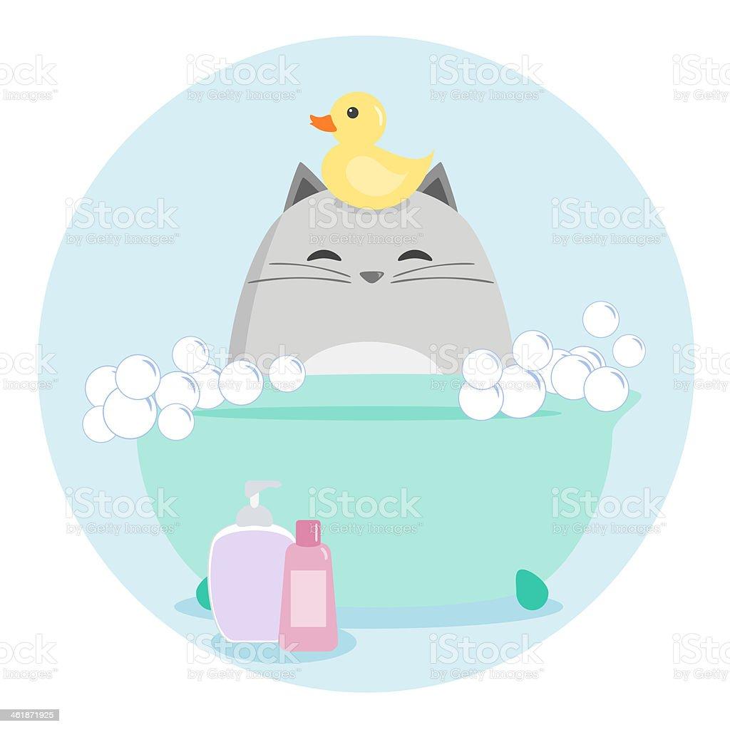 Cat Having a Bath vector art illustration