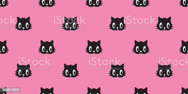 Cat head black cat seamless pattern pink wallpaper background vector vector id686919002?b=1&k=6&m=686919002&s=612x612&h=klemavqitrucip8yhoqfmiwnlhsyqckem2bliqlj7pi=