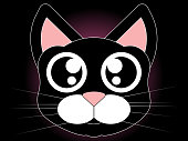 Cat Head - Cute vector illustration. Hand-drawn image of a cat's head in cartoon style.